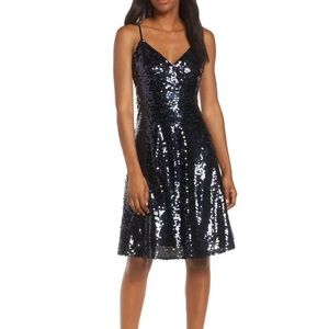 New Vince Camuto Navy Sequin Party Dress